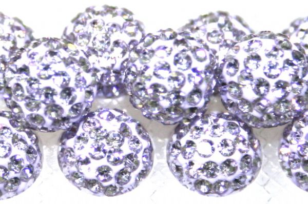 8mm Lilac 70 Stone Pave Crystal Beads- Half Drilled  PCBHD08-070-015